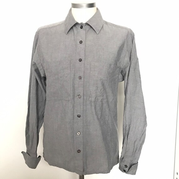 Vintage shirt,grey shirt,cotton blouse, utility,vintage Jaeger,90s,990s utility,80s blouse, avant garde,masculine,androgeny