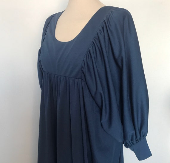 Vintage dress, midi dress, empire line, blue dress, prairie, Biba style, UK 12, balloon sleeves,huge sleeves, 1970s, 70s dress, knee length