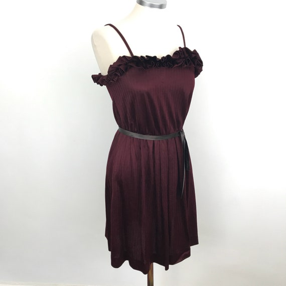 Vintage dress, egg plant purple, silky polyester, frilly, petite, party dress, 1980s, disco dress, UK 6, claret, starppy drss, short dress,