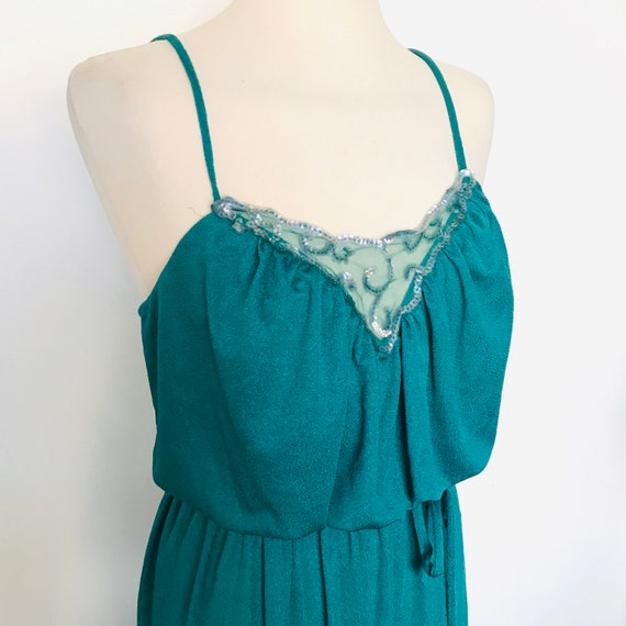 Vintage dress, 1970s, disco, green, sequins dress, midi dress, strappy, Shubette, evening, polyester jersey, UK 8, 10, 70s glam, sparkly