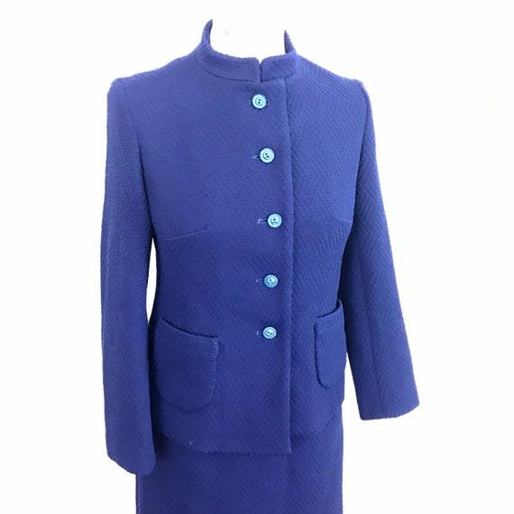 1960s suit, Mod suit, vintage crimplene, navy blue, 60s jacket, skirt, scooter girl, Beatles collar, UK 10, pencil skirt