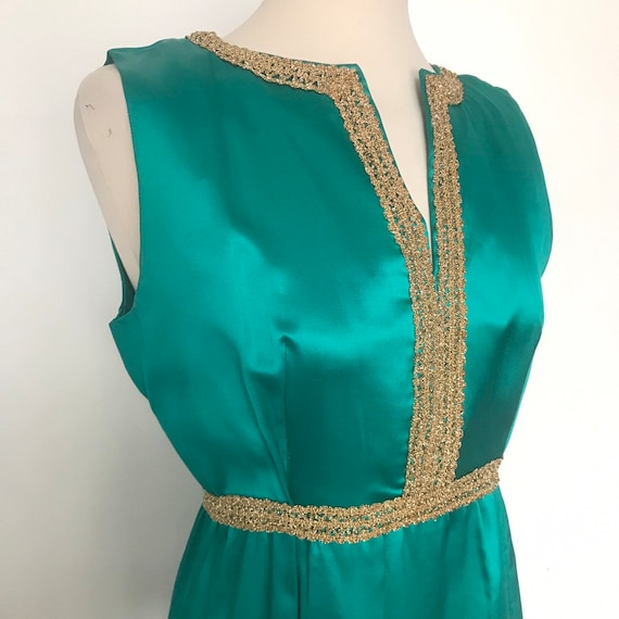 1960s dress,maxi dress,emerald green duchess satin,gold trim,evening dress,60s,long,vintage,Mod,party dress,bridesmaid wedding,UK 10,
