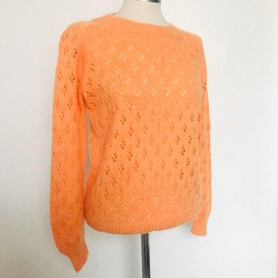 vintage knitted sweater,sherbert orange,orange jumper,hand knitted,1970s,acrylic,top, balloon sleeves,UK 8, 10,boho,hippie,70s,1960s