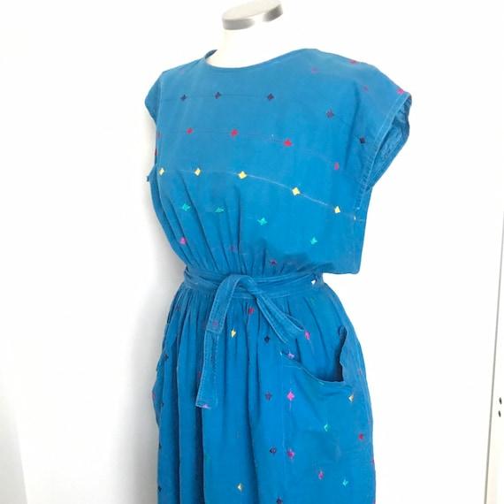 Vintage wrap dress,Indian Cotton dress,low back,blue dress,embroidered,stripes, Monsoon,waist wrap, UK 10 12,vintage Monsoon
