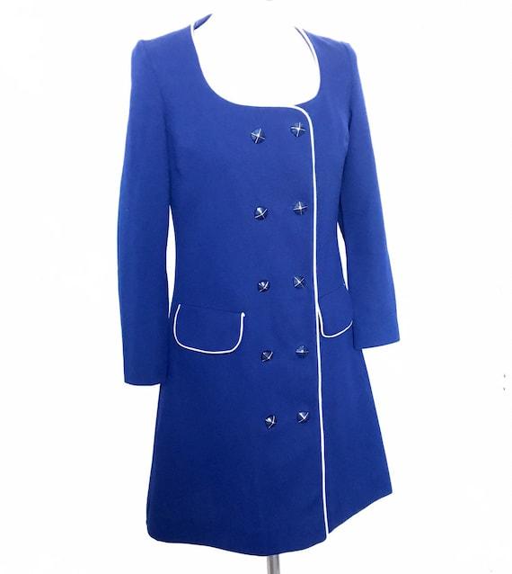 1960s dress,Mod,crimplene,coat dress,navy dress,double breasted,shift,blue,Scooter girl,UK 8 10,60s,GoGo,
