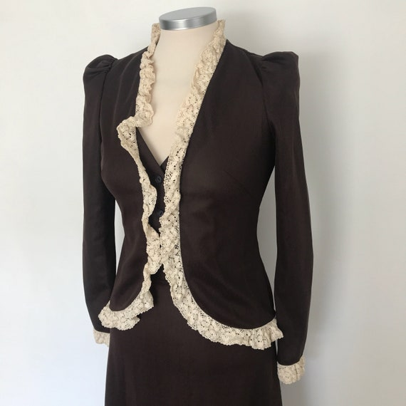 1970s ladies suit, Mr Darren, Victoriana, crochet trim, maxi skirt, Biba style, 70s outfit, brown cream, long, Ossie Clark, maxi dress 4-6