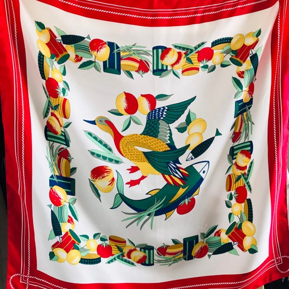 Silk Scarf,duck,vegetables,vintage novelty print,birds,fun print,square classic collectable vintage scarves,red,hand rolled