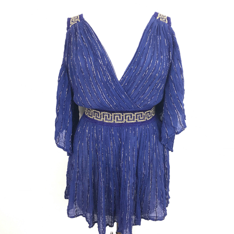 58f39455929e vintage grecian blouse cotton cheesecloth blue gold dress Greek Key ...