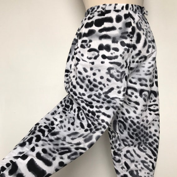 Vintage pants,50s style,animal print,clam diggers,high waisted trousers,M,lady K loves,1950s pin up,ankle length,UK 14