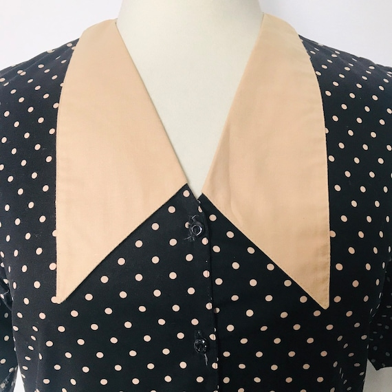 Vintage dress,drop waist,polka dot,cotton dress,1980s does 1920s ,black beige,Avant Garde,UK 12 14,20s style,spotty,Annie Hall,80s