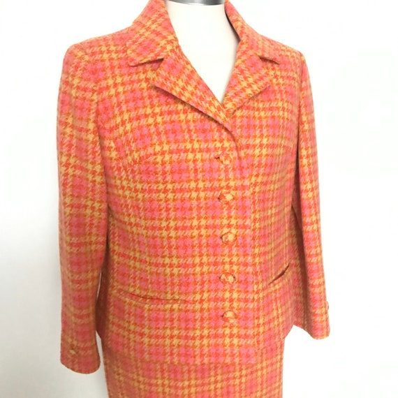 Mod suit, vintage suit,skirt suit,1960s,checkered,wool suit,jacket,boxy,orange,pink,tartan, plaid scooter girl,UK 10,wedding, office