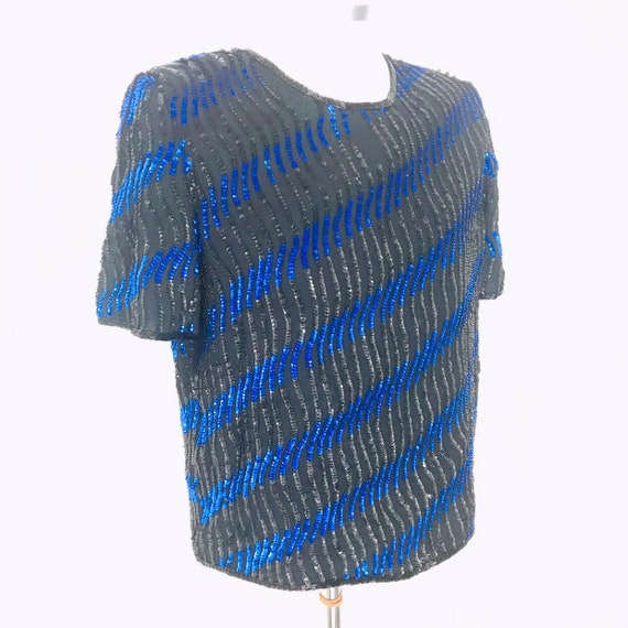 Vintage sequin top, sparkly blouse, oversized, shoulder pads, 80s, chiffon, electric blue, striped,glam,goth,trophy, UK 8, 10, 1980s, disc