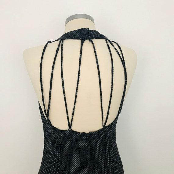 Vintage dress black spotted,cage back, backless, polyester chiffon, flippy, 80s halter style, UK 12, pin up, swing dress, 90s style, grunge