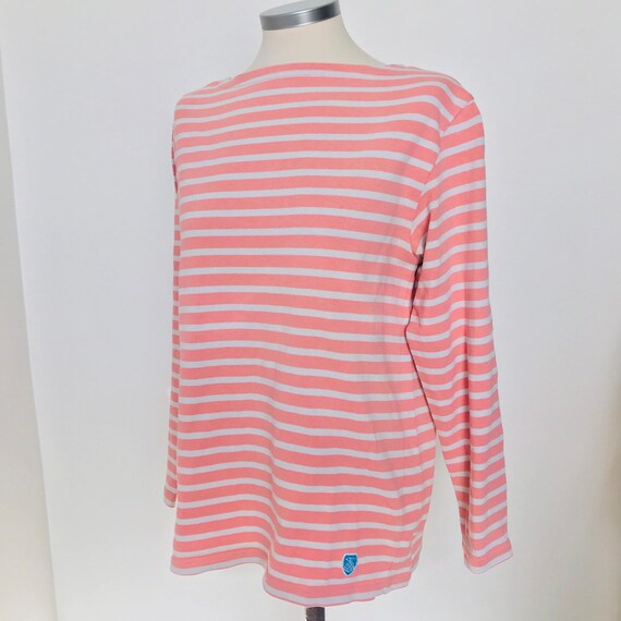 Vintage breton top, pink striped,Nautical blouse,long sleeve tee,cotton,sailor top,20s style,30s riviera,tunic,Orcival,classic vintage,12