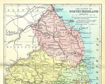 Map of Northumberland 19th Century Reproduction Map of Northumberland