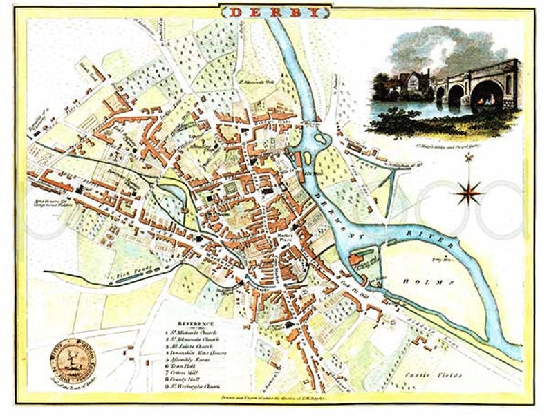 Map Of Uk Derby.Derby 1807 Antique English Map Of Derby Derbyshire 8 X 10 Ins Print Free P P Uk