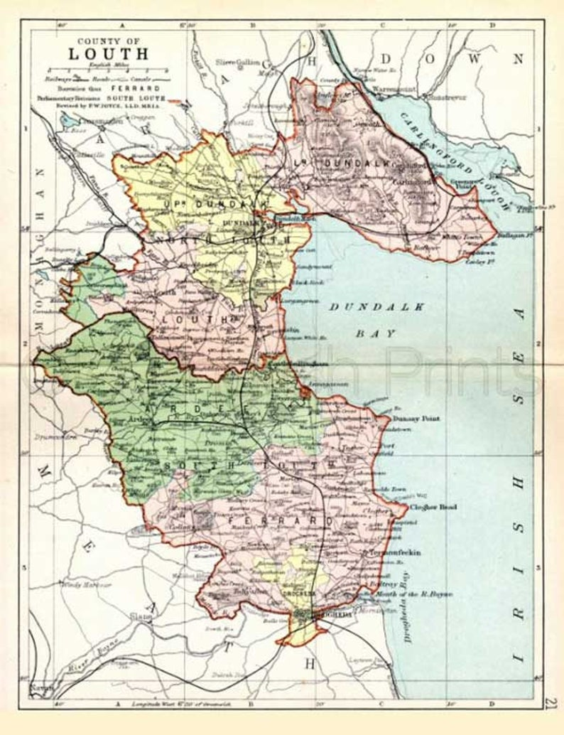Map Of Ireland Louth.County Louth 1897 Antique Irish Map Of Louth Canvas Print 2 Sizes Free P P Uk