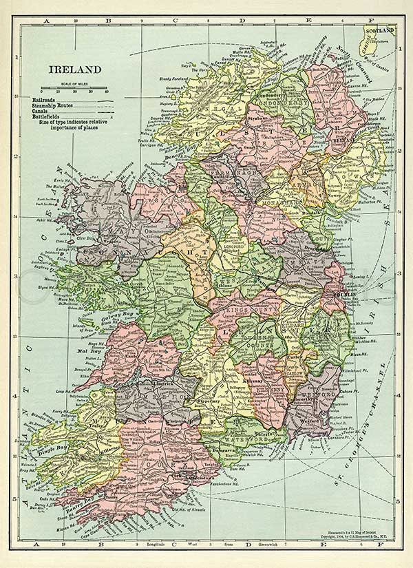 Map Of Ireland Print.Ireland 1904 Vintage Map Of Old Ireland 8 X 11 Ins 20 3 X 27 9