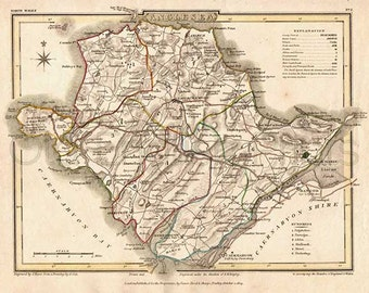 Anglesey 1809 - Antique Welsh Map of Anglesea (Ynys Môn) - Canvas Paper A3 - 14.5x11 in. 37x27 cm - FREE DELIVERY