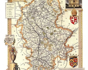 Staffordshire 1841 Old English County Map - Giclée Fine Art Heavyweight Archival Paper - A3 size 11.7x16.5 ins - Unframed - FREE DELIVERY