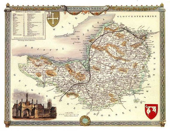 Unframed FREE DELIVERY A3 size Dorsetshire 1841 Old English City Map Canvas Textured Fine Art paper