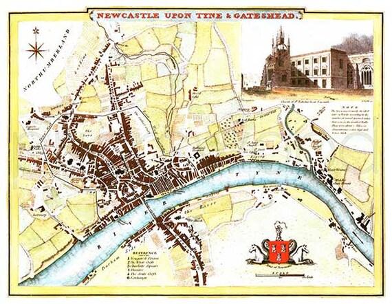 Newcastle 1807 Antique English Map Of Newcastle Upon Tyne Etsy