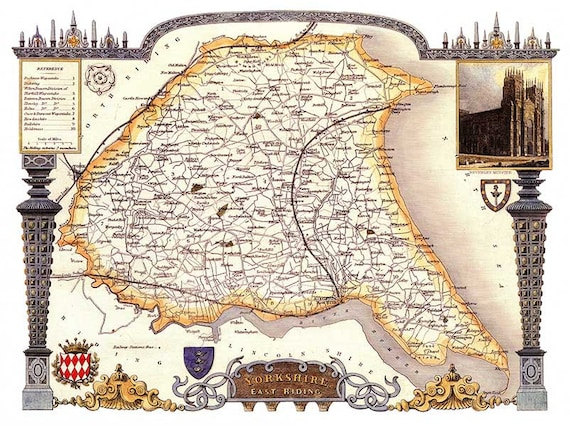 10 Sizes YORKSHIRE WEST RIDING COUNTY VINTAGE MAP ART PRINT POSTER Britain British UK Antique Historical Home Decor Wall Picture A4 A3 A2