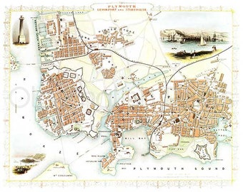 plymouth 1851 antique english town map of plymouth devonport and stonehouse 8 x