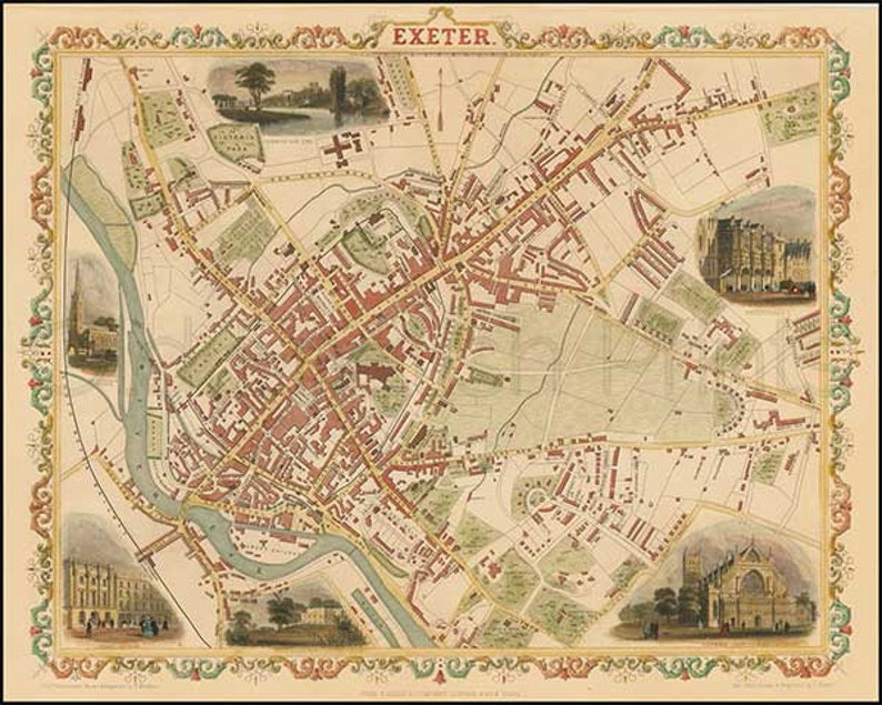 Map Of Uk Exeter.Exeter 1851 Antique English Town Map Of Exeter Devon Canvas Paper A3 14x11 In 37x27 Cm Free P P Uk