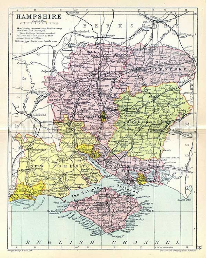 Map Of Uk Hampshire.Hampshire 1895 Antique English County Map Of Hampshire Canvas Print Choice Of 2 Sizes Free P P Uk