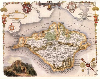 Isle of Wight - 1841 Old English Island Map - Giclée Fine Art Heavyweight Archival Paper - A3 size 11.7x16.5 ins - Unframed - FREE DELIVERY