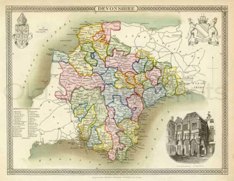 Map Of Uk Devon.Devon 1837 Antique English County Map Of Devonshire Canvas Print Choice Of 2 Sizes Free P P Uk