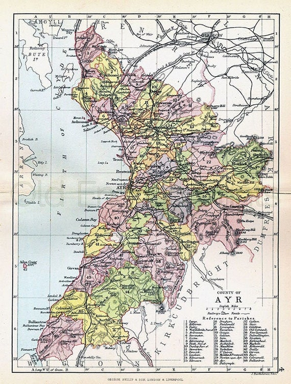 FREE DELIVERY Antique Scottish County Map 37x27 cm PRINT Unframed A3 size 14.5x11 in Ayr Shire