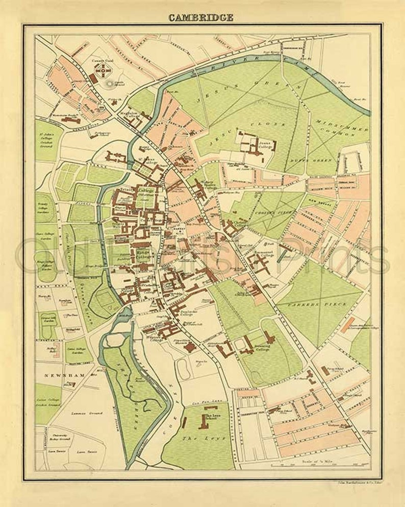 Cambridge 1895 Antique Map of Cambridge town and colleges | Etsy on