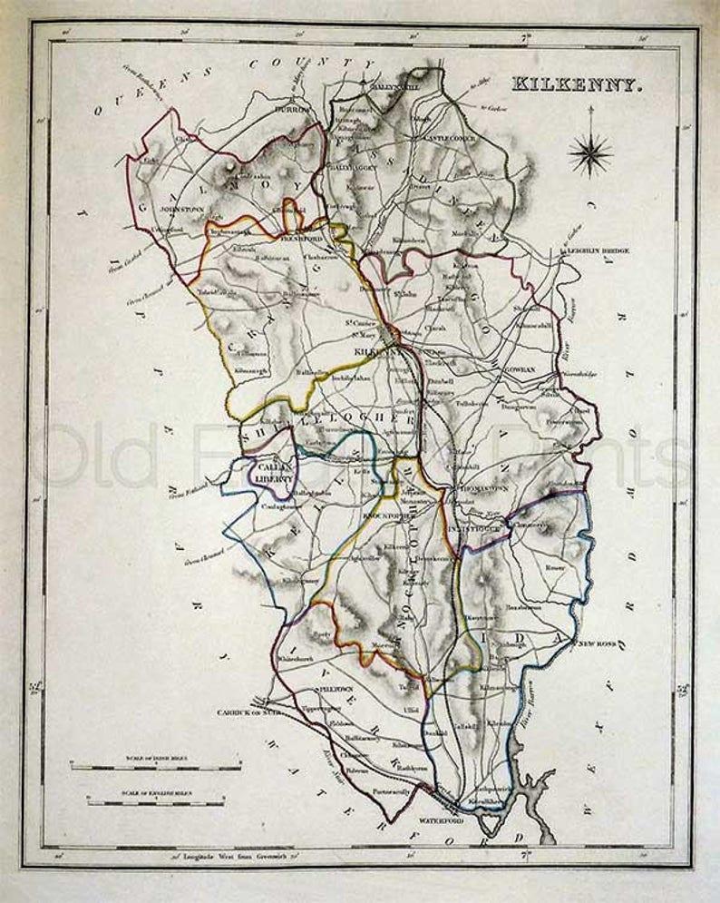 Map Of Ireland Showing Kilkenny.County Kilkenny 1846 Antique Irish Map Of Kilkenny 8 X 10 Etsy