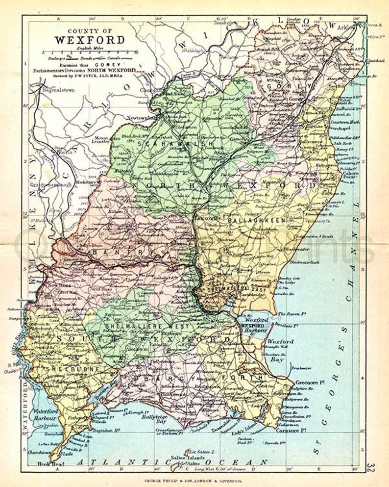 Map Of Wexford County Ireland.County Wexford 1897 Antique Irish Map Of Wexford Canvas Etsy