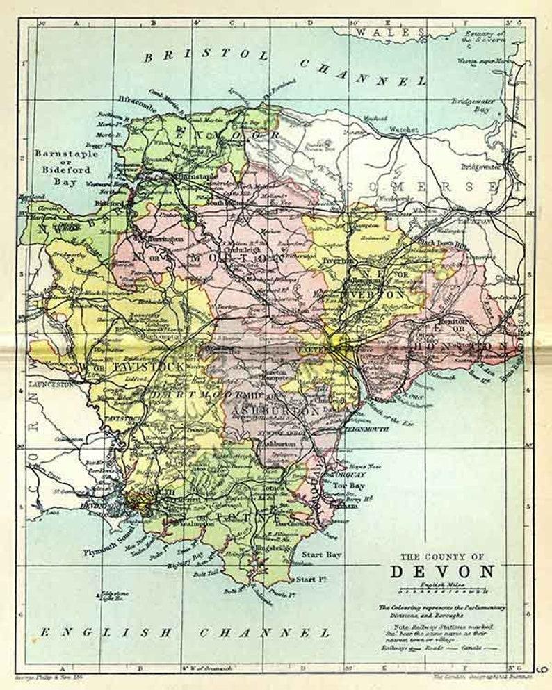 Map Of Uk Devon.Devon 1895 Antique English County Map Of Devonshire Canvas Print Choice Of 2 Sizes Free P P Uk
