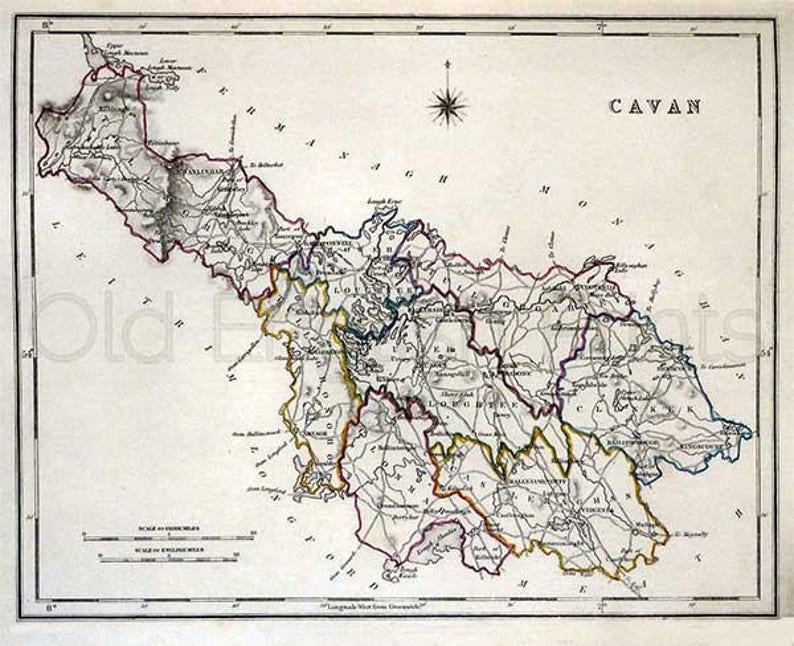 Map Of Ireland Cavan.Cavan 1846 Antique Irish County Map Of Cavan Canvas Print Etsy