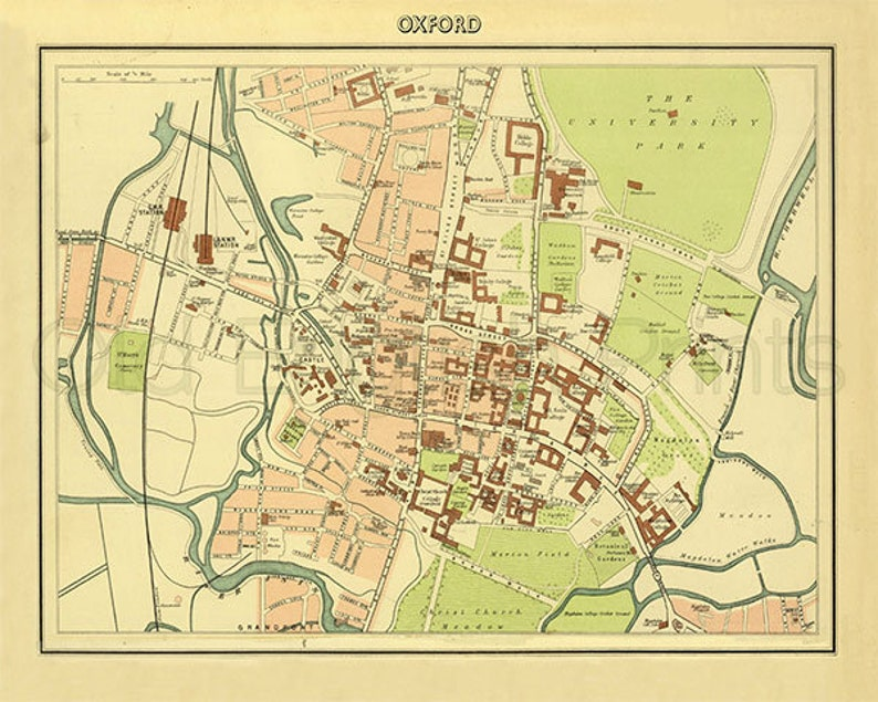 Map Of Uk Oxford.Oxford 1895 Antique Map Of Oxford Town And University Canvas Print Choice Of 2 Sizes Print Free P P Uk