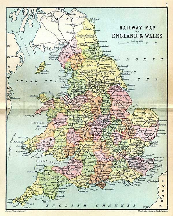 Map Of England Rail.England And Wales Railway Map 1895 Antique Map Of English And