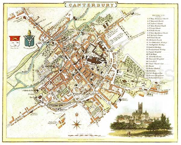 Canterbury 1807 Antique English Town Map Of Canterbury 8 X 10