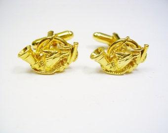 Fox Head Gold Plated Cufflinks UK Handmade Gift