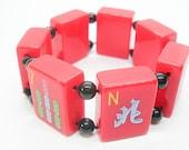 Vintage Mahjong Tile Stretch Bracelet red Tiles black bead Spacers