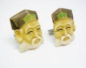 Vintage Toshikane Cuff Links Porcelain Japanese Lucky God of Fortune Cufflinks Sterling Silver Formal Wear Men Wedding Jewelry