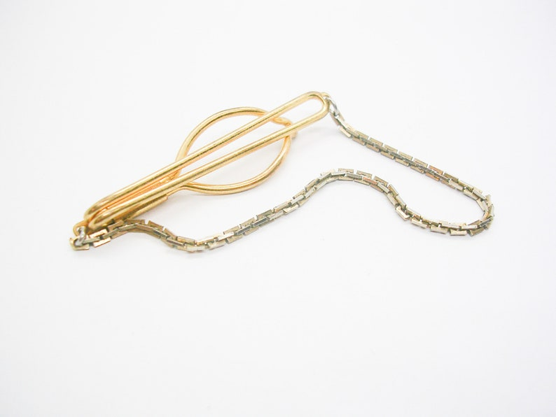 Vintage Tie Chain Necktie Accessory Mid Century Tie Clip with chain Formal Wear men Wedding Jewelry
