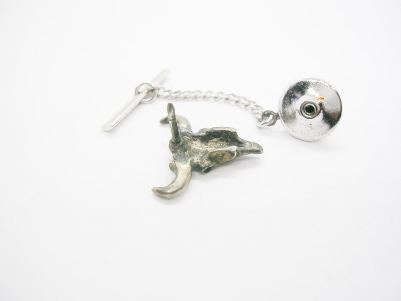 Vintage Cow Skull Tie Tack with chain Sterling Silver Tie Pin Necktie Accessory Man Wedding Jewelry Formal Wear Southwestern Cowboy