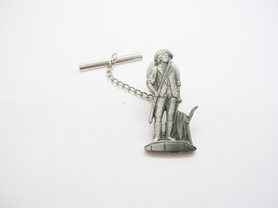 Vintage  Minuteman Tie Tack Pewter Style Tie Pin with chain Formal Necktie Accessory Men Wedding Jeewelry