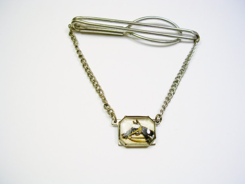 Horse Racing Equestrian Tie Chain  vintage Tie Clip with chain reverse painted horse head Guard  Convex Glass  Horse Rider Gift