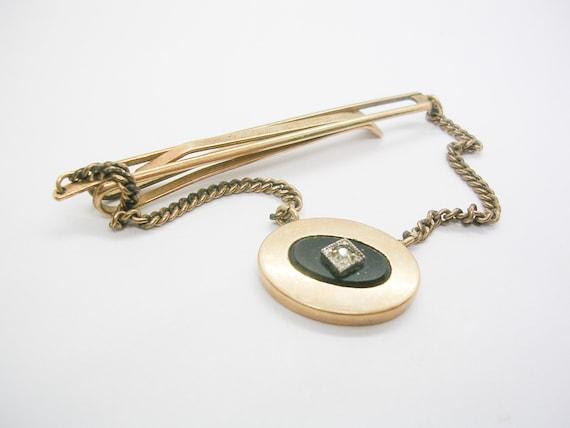 Vintage Tie Clip Silver tone metal with oval tie feed through