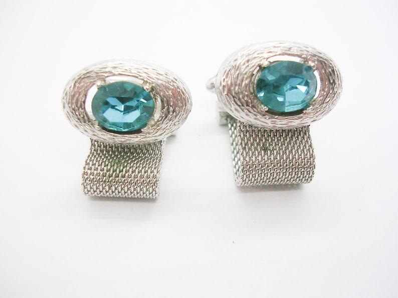 Vintage DANTE Cufflinks Mesh Wrap Cufflinks Pisces March Aquamarine Glass Birthstone Formal Wear Men/'s Jewelry Man Wedding Accessory
